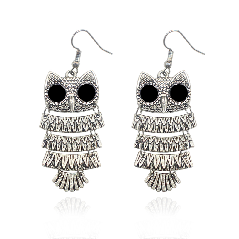 Hot Selling Bohemian Vintage Owl Earrings Hollow Tassel Animal Pendant Earrings For Women Trendy Jewelry 2017 Drop Shipping