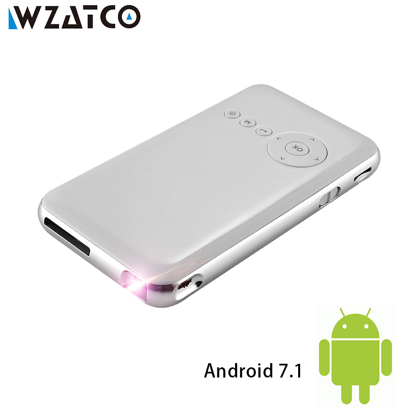 WZATCO M6 Android 7.1.2 5000 mAh Pil El Mini led projektör WiFi Bluetooth DLP 1080 P Beamer Destek AirPlay Miracast AC3