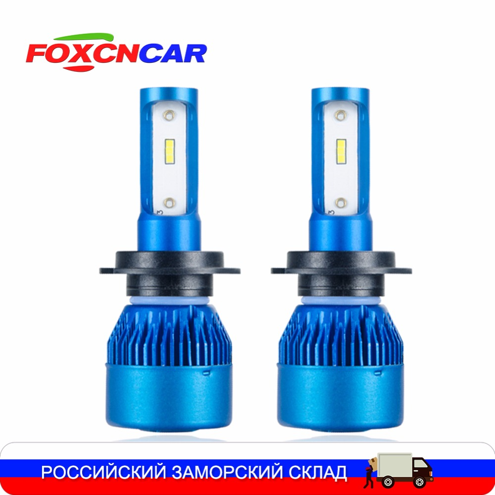 Foxcncar H4 H7 LED araba far ampulü Mini H1 H11 9005 9006 Oto Far 24 V 12 V 10000LM 72 W ampul HB3 fan H8 6500 K CSP Puce